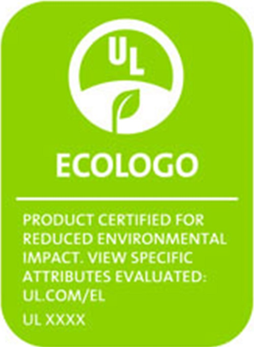 """Rectangular neon green logo displaying a plant leaf within a white circle. Contains the following text, """"Product certified for reduced environmental impact"""""""