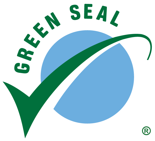 A green checkmark parting a blue circle surrounded by the words 'Green Seal'