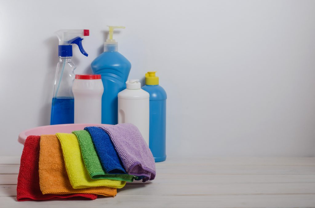 Colour Coded cloths and cleaning supplies